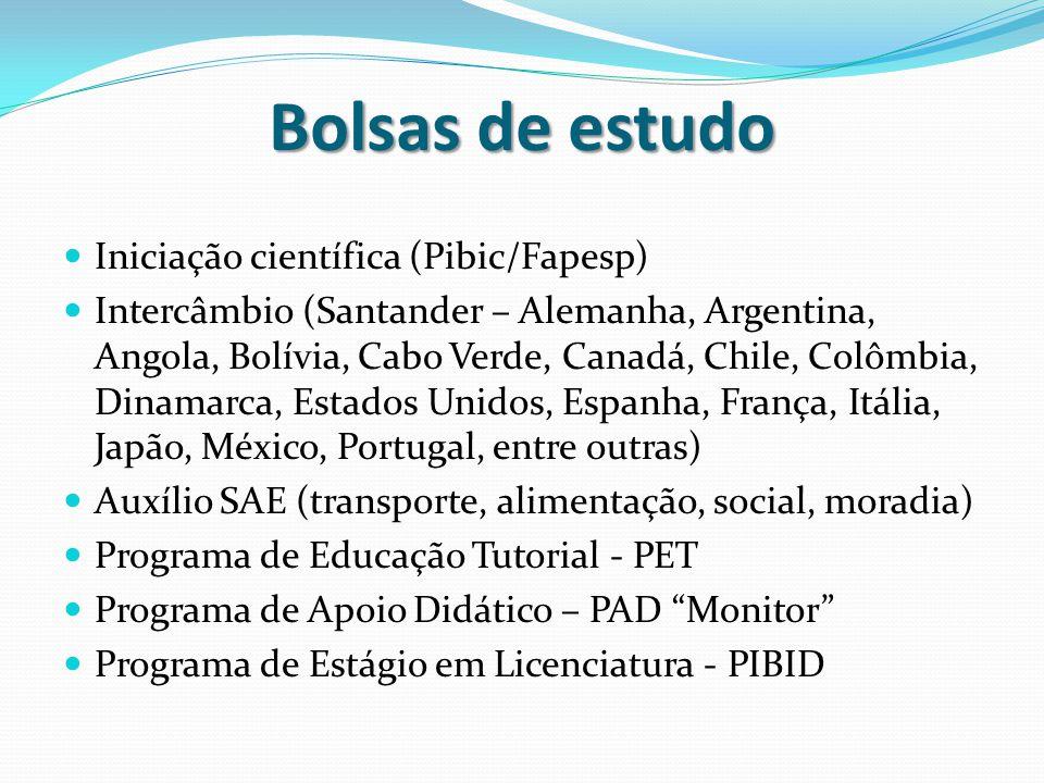 Bolsas de estudo Iniciação científica (Pibic/Fapesp)
