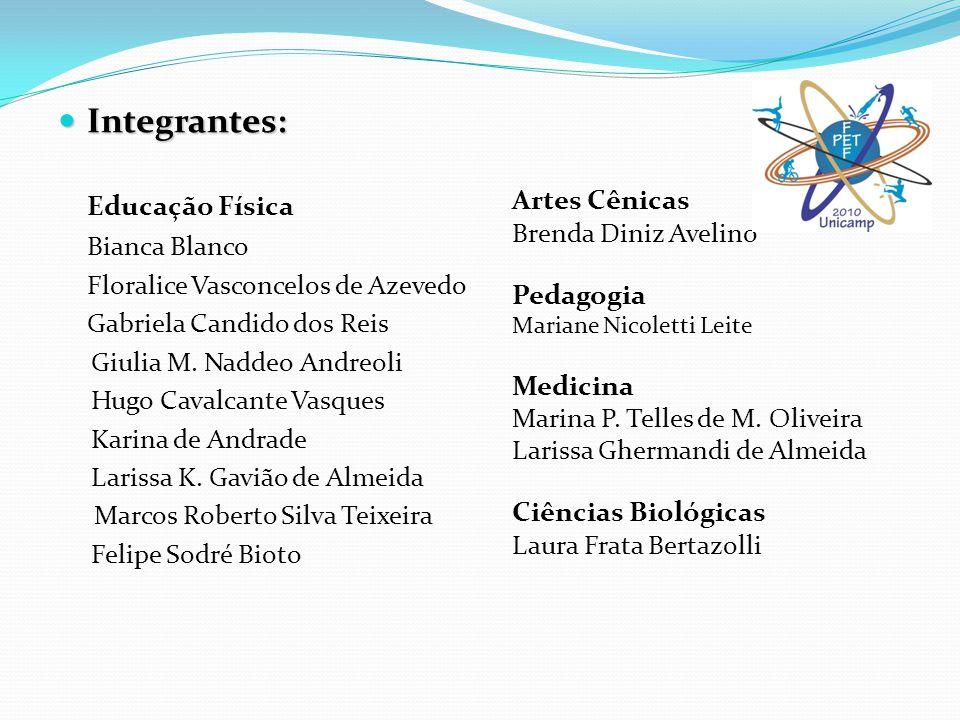 Integrantes: Educação Física Bianca Blanco Artes Cênicas Pedagogia