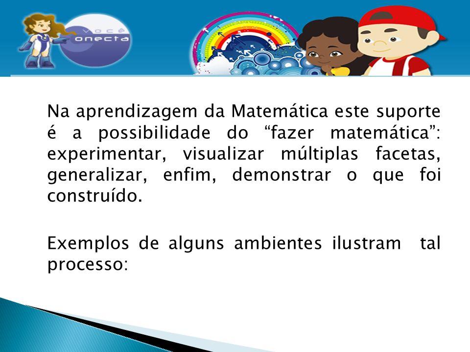 Na aprendizagem da Matemática este suporte é a possibilidade do fazer matemática : experimentar, visualizar múltiplas facetas, generalizar, enfim, demonstrar o que foi construído.