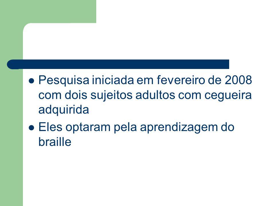 Pesquisa iniciada em fevereiro de 2008 com dois sujeitos adultos com cegueira adquirida