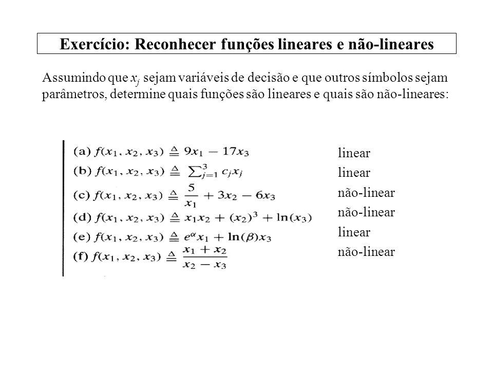 Exercício: Reconhecer funções lineares e não-lineares