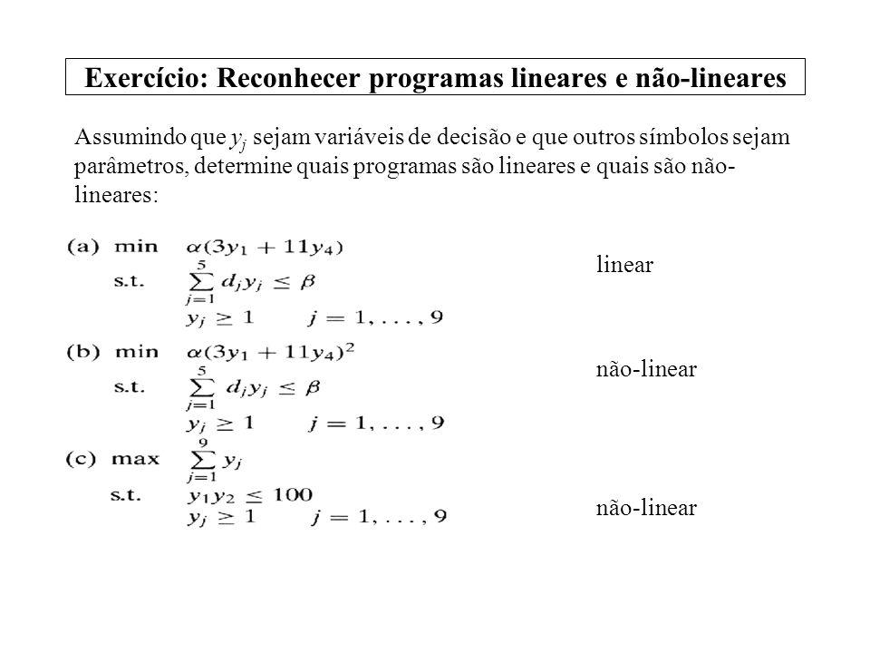 Exercício: Reconhecer programas lineares e não-lineares