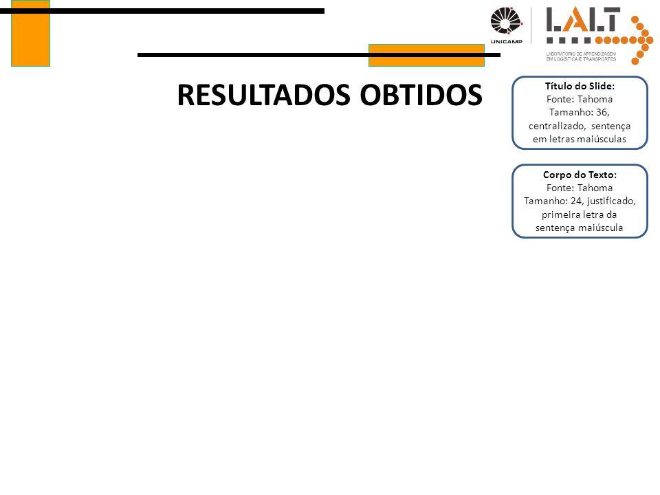 RESULTADOS OBTIDOS Título do Slide: Fonte: Tahoma