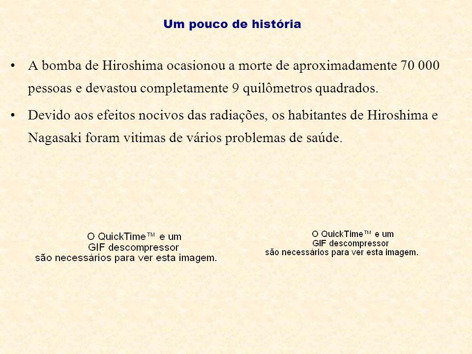 Um pouco de história A bomba de Hiroshima ocasionou a morte de aproximadamente 70 000 pessoas e devastou completamente 9 quilômetros quadrados.