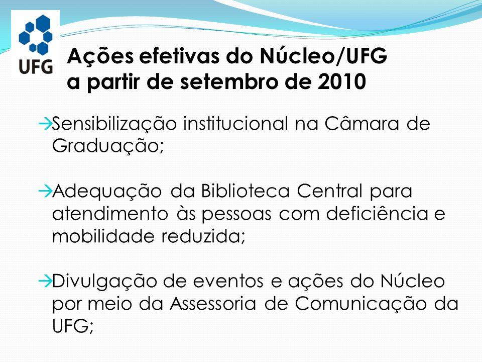 Ações efetivas do Núcleo/UFG a partir de setembro de 2010