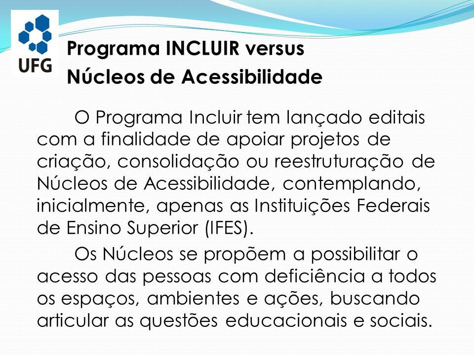 Programa INCLUIR versus Núcleos de Acessibilidade