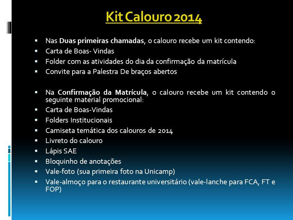 Kit Calouro 2014 Nas Duas primeiras chamadas, o calouro recebe um kit contendo: Carta de Boas- Vindas.