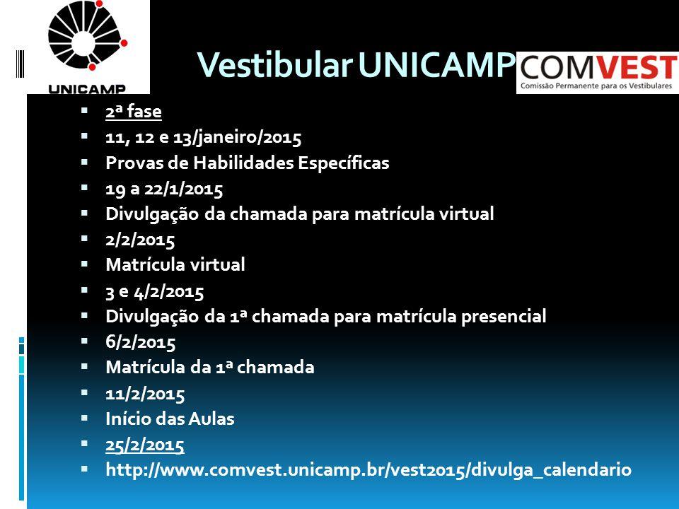 Vestibular UNICAMP 2ª fase 11, 12 e 13/janeiro/2015