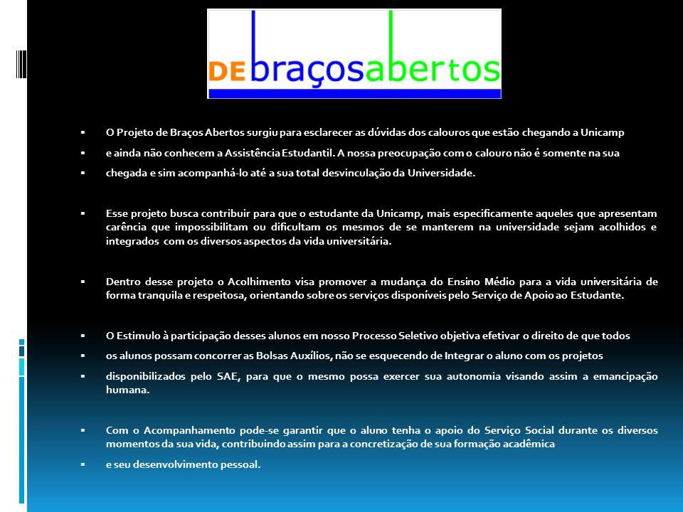 O Projeto de Braços Abertos surgiu para esclarecer as dúvidas dos calouros que estão chegando a Unicamp