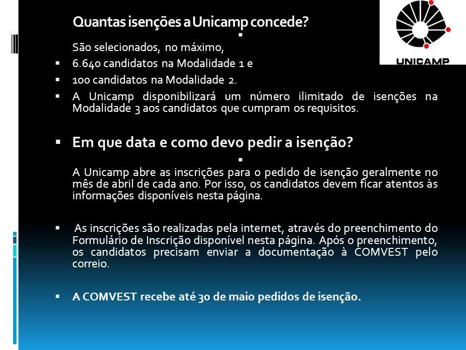 Quantas isenções a Unicamp concede