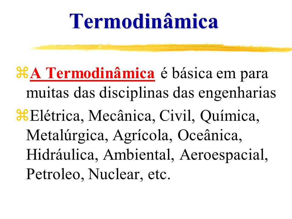 Termodinâmica A Termodinâmica é básica em para muitas das disciplinas das engenharias.