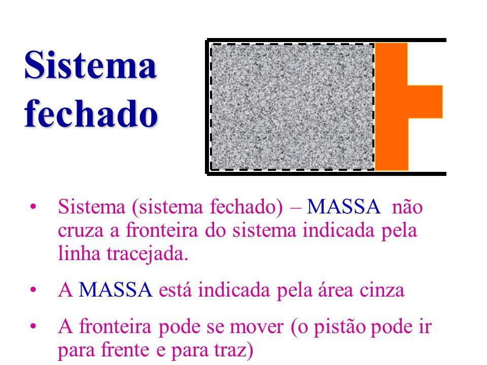Sistema fechado Sistema (sistema fechado) – MASSA não cruza a fronteira do sistema indicada pela linha tracejada.