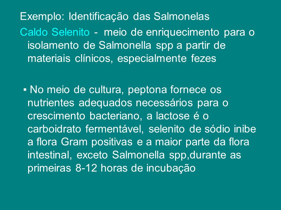 Exemplo: Identificação das Salmonelas