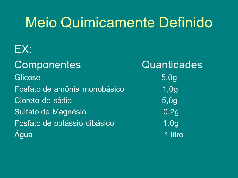 Meio Quimicamente Definido