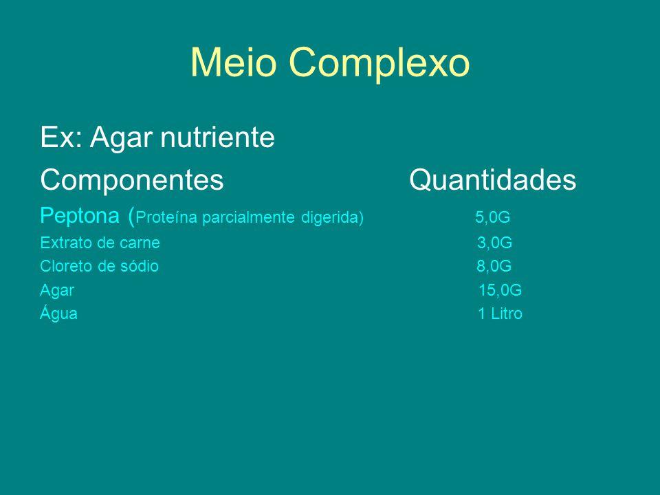 Meio Complexo Ex: Agar nutriente Componentes Quantidades