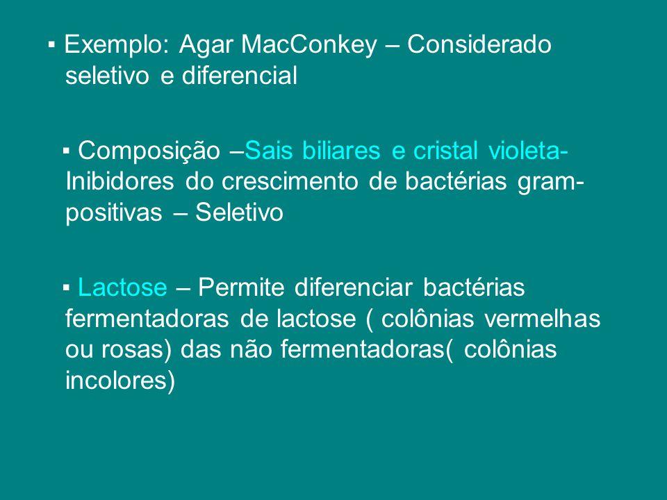 ▪ Exemplo: Agar MacConkey – Considerado seletivo e diferencial
