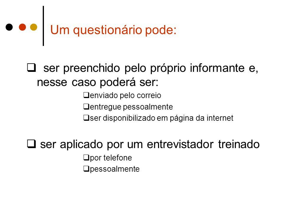 Um questionário pode: ser preenchido pelo próprio informante e, nesse caso poderá ser: enviado pelo correio.