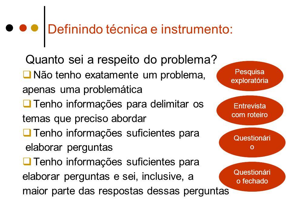 Definindo técnica e instrumento: