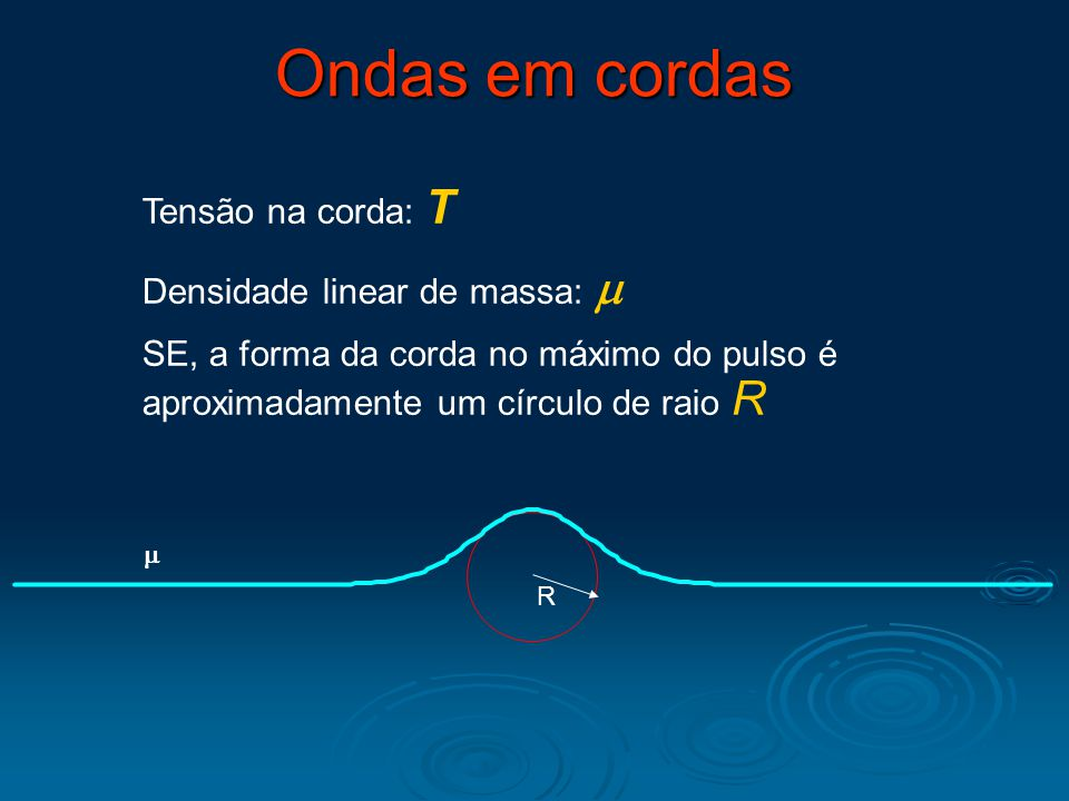 Ondas em cordas Tensão na corda: T Densidade linear de massa: m
