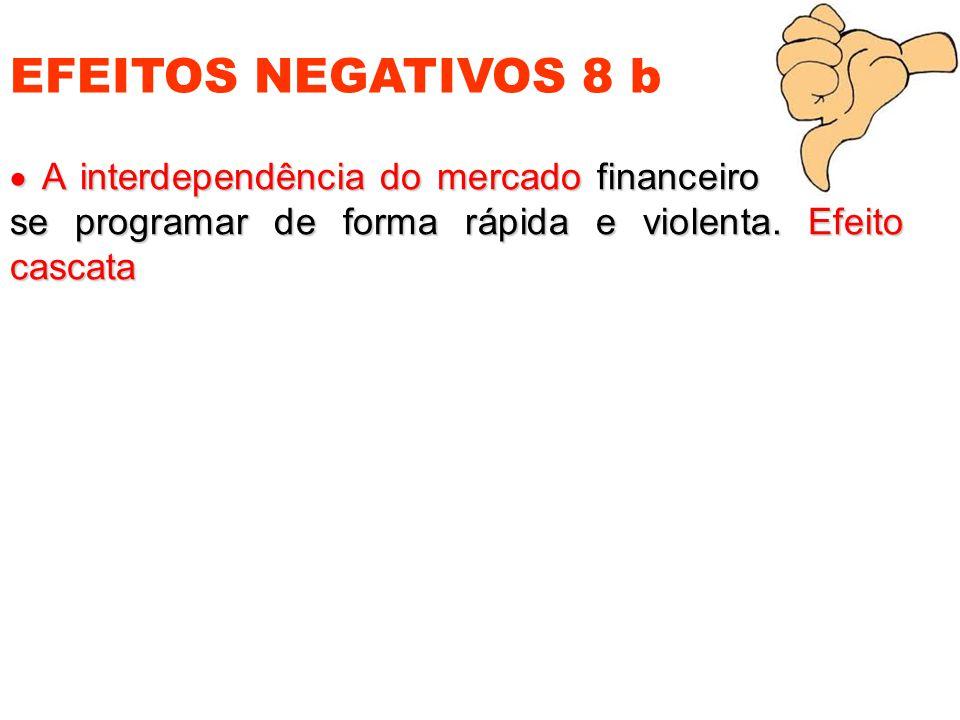 EFEITOS NEGATIVOS 8 b  A interdependência do mercado financeiro tende a se programar de forma rápida e violenta.