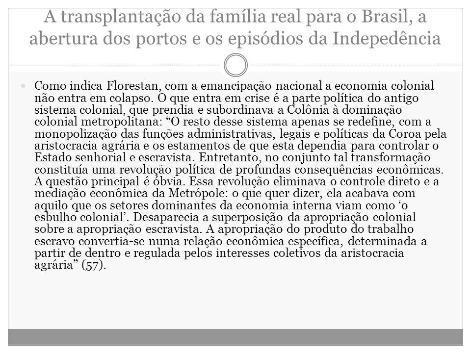 A transplantação da família real para o Brasil, a abertura dos portos e os episódios da Indepedência