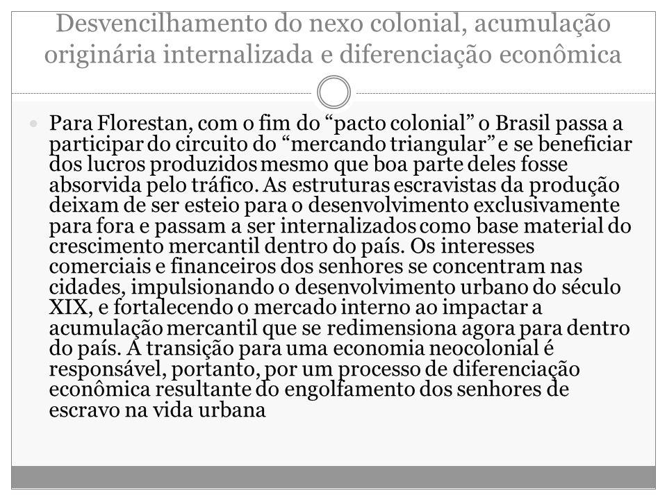 Desvencilhamento do nexo colonial, acumulação originária internalizada e diferenciação econômica