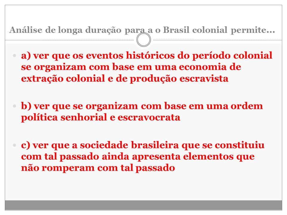 Análise de longa duração para a o Brasil colonial permite...