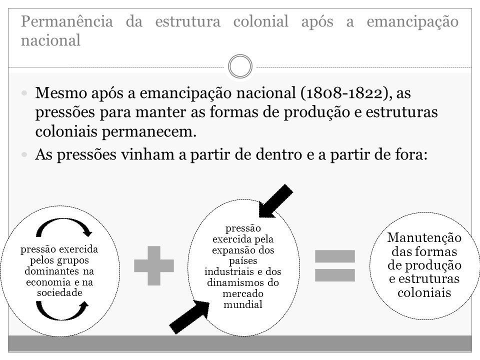Permanência da estrutura colonial após a emancipação nacional
