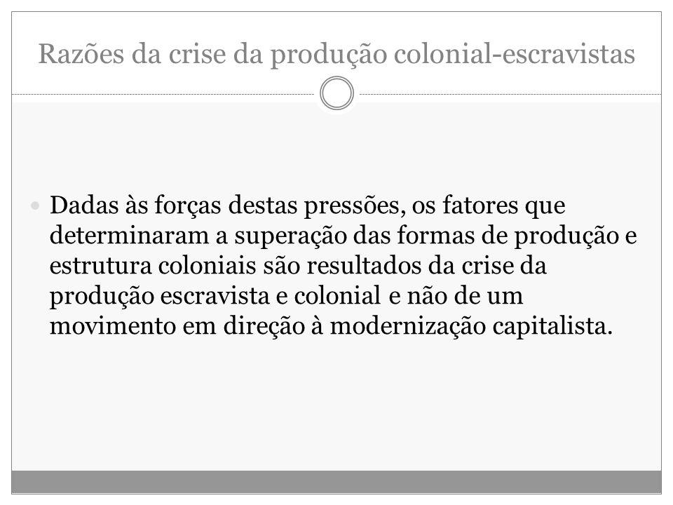 Razões da crise da produção colonial-escravistas