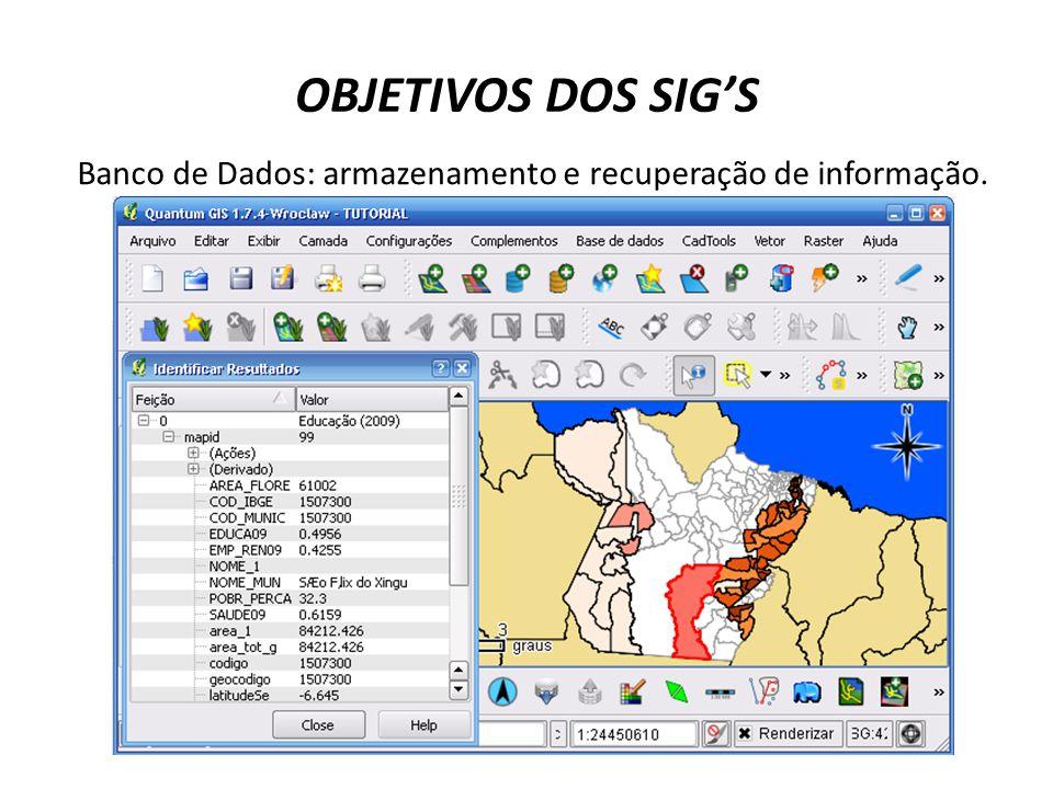 Banco de Dados: armazenamento e recuperação de informação. espacial.