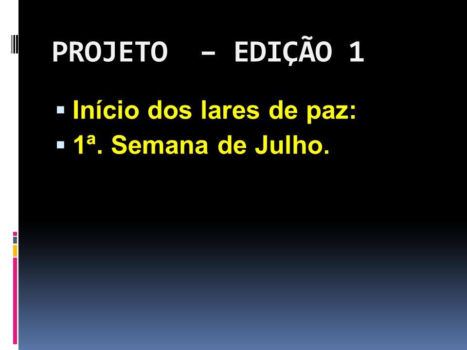 PROJETO – EDIÇÃO 1 Início dos lares de paz: 1ª. Semana de Julho.