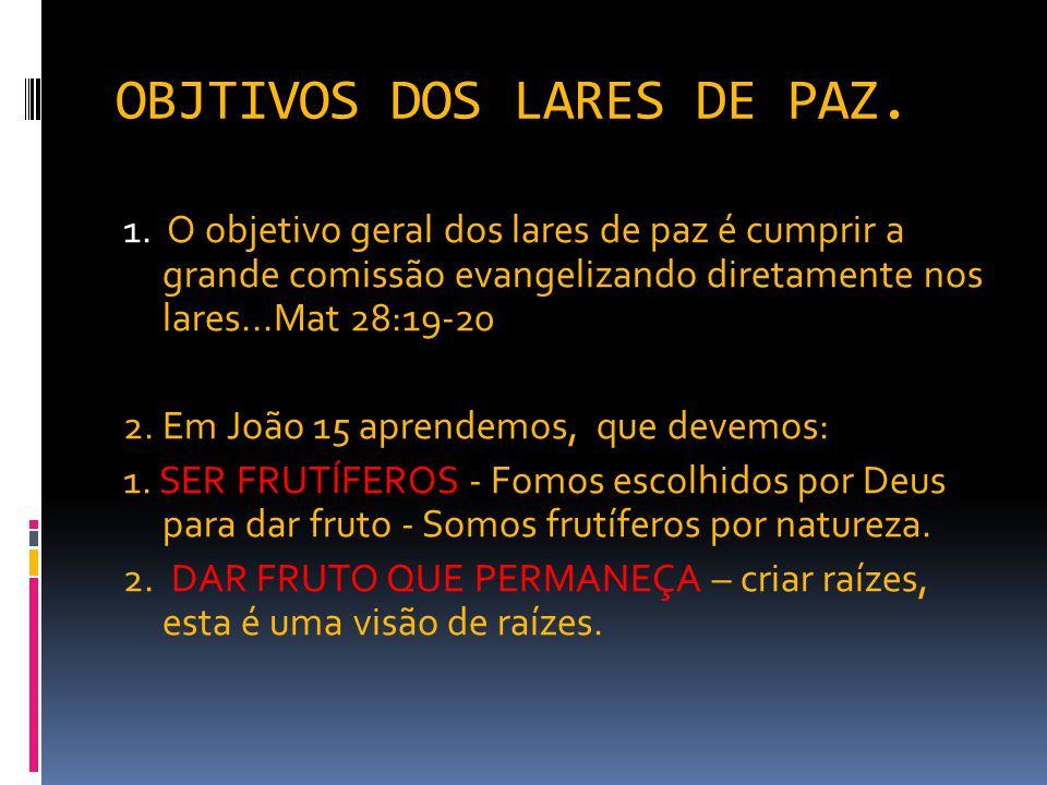OBJTIVOS DOS LARES DE PAZ.
