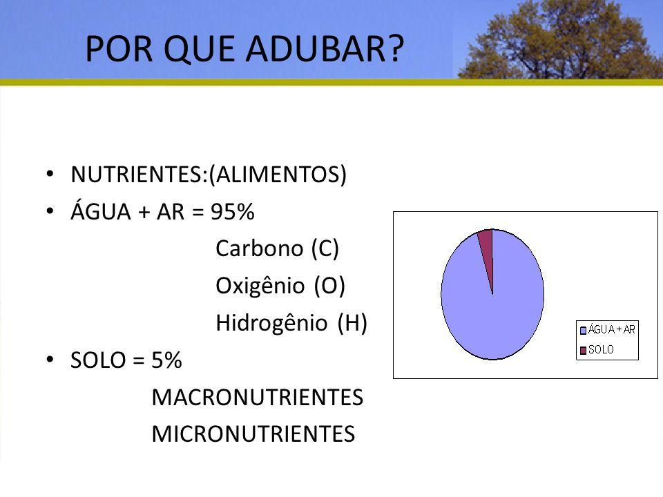 POR QUE ADUBAR NUTRIENTES:(ALIMENTOS) ÁGUA + AR = 95% Carbono (C)