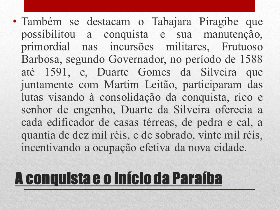 A conquista e o início da Paraíba