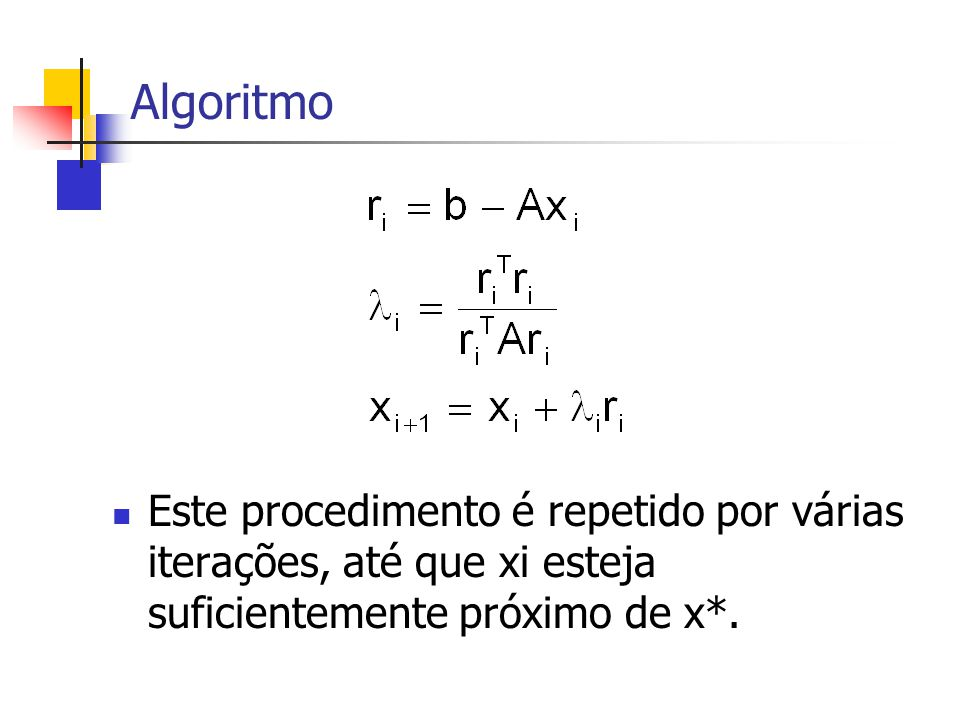 Algoritmo Este procedimento é repetido por várias iterações, até que xi esteja suficientemente próximo de x*.
