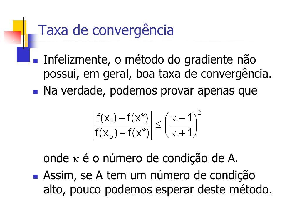 Taxa de convergência Infelizmente, o método do gradiente não possui, em geral, boa taxa de convergência.