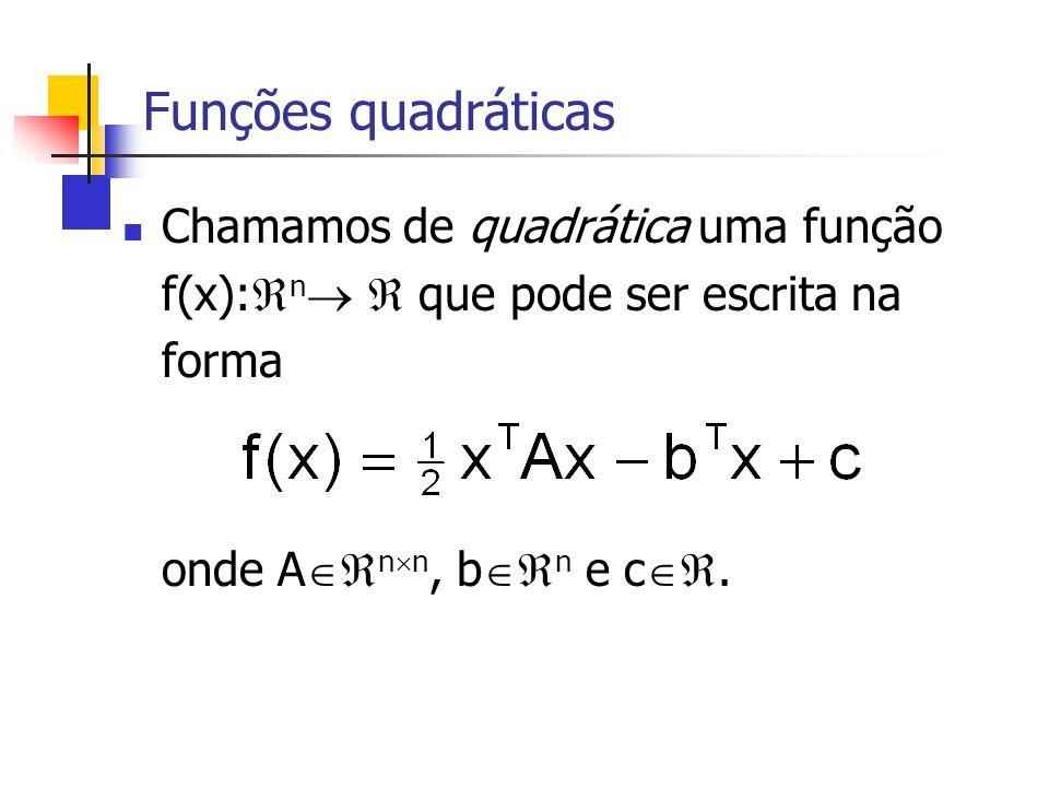 Funções quadráticas Chamamos de quadrática uma função f(x):n  que pode ser escrita na forma.