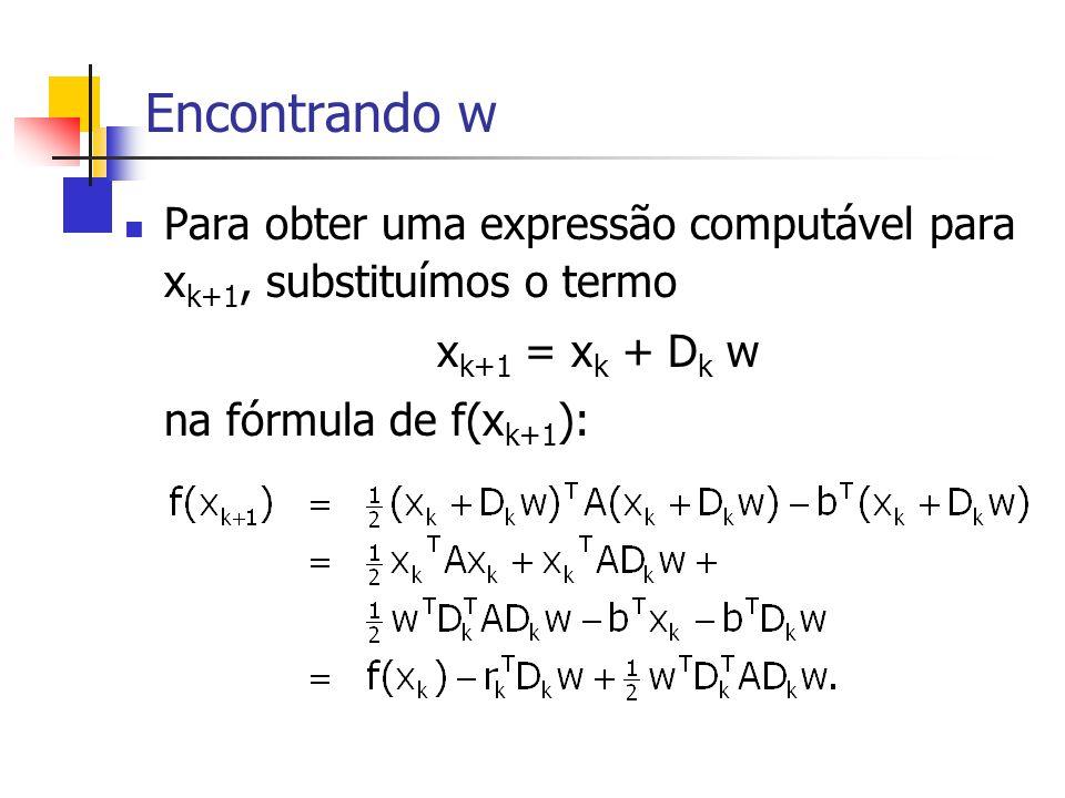 Encontrando w Para obter uma expressão computável para xk+1, substituímos o termo. xk+1 = xk + Dk w.