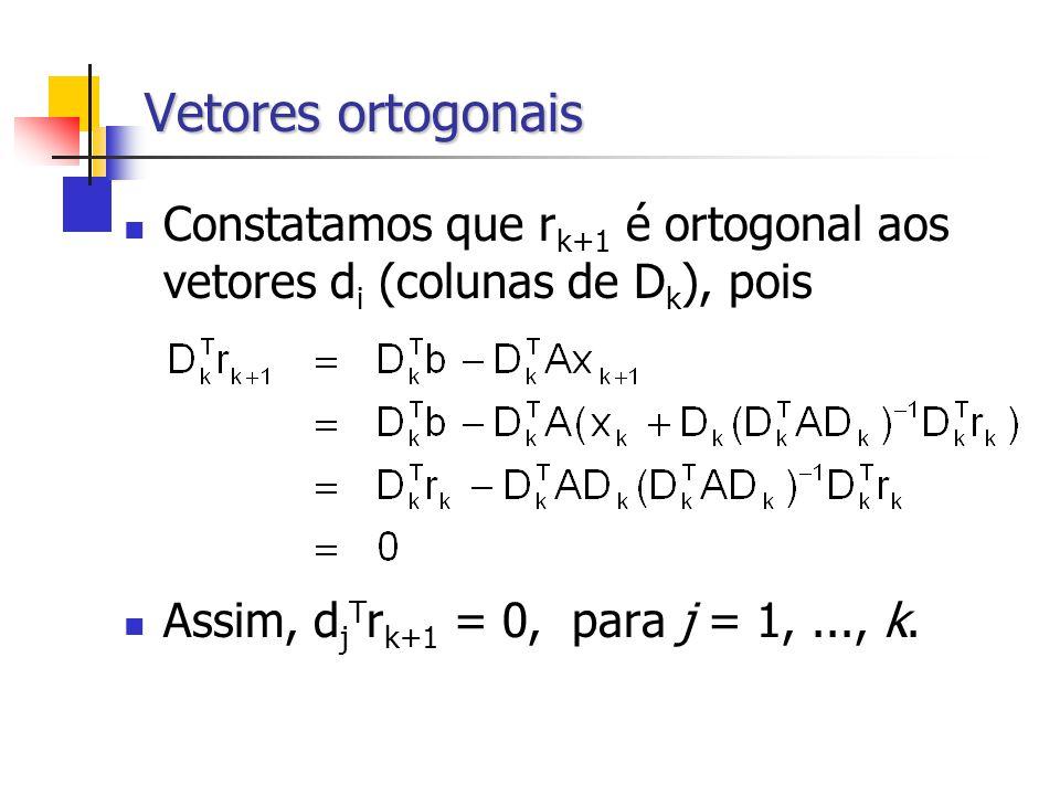 Vetores ortogonais Constatamos que rk+1 é ortogonal aos vetores di (colunas de Dk), pois.