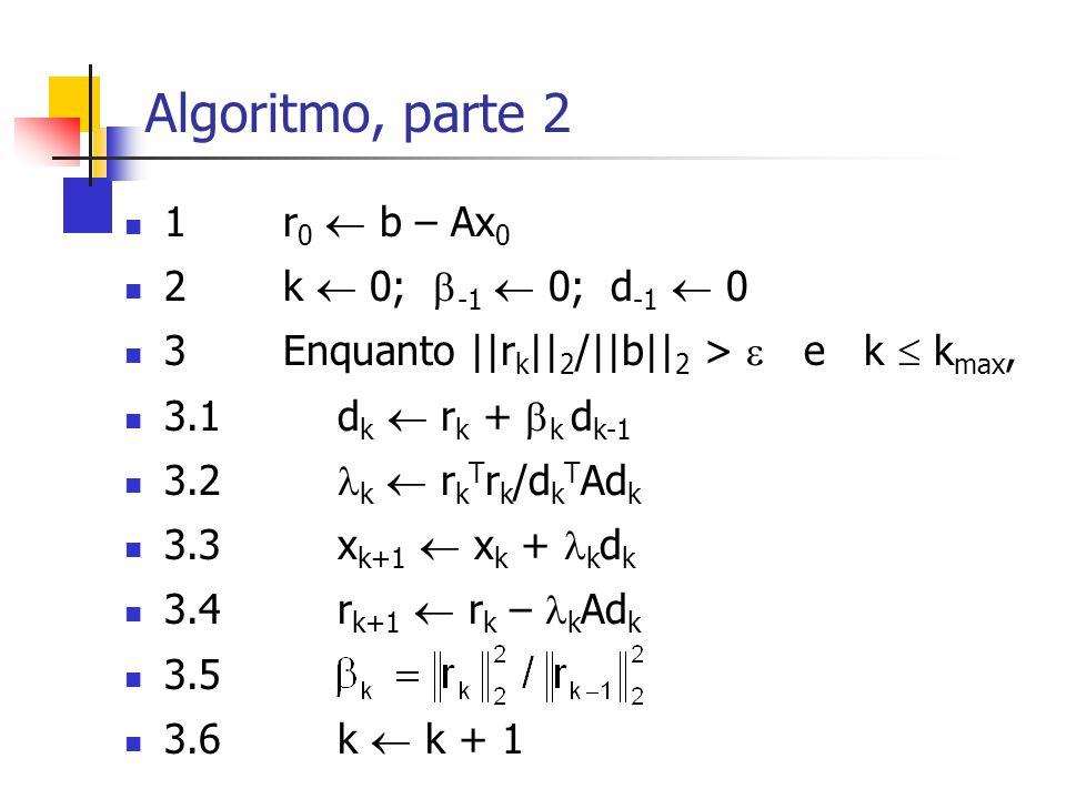 Algoritmo, parte 2 1 r0  b – Ax0 2 k  0; -1  0; d-1  0