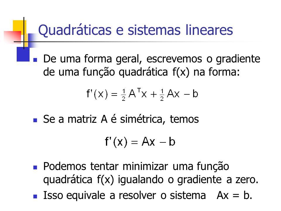 Quadráticas e sistemas lineares