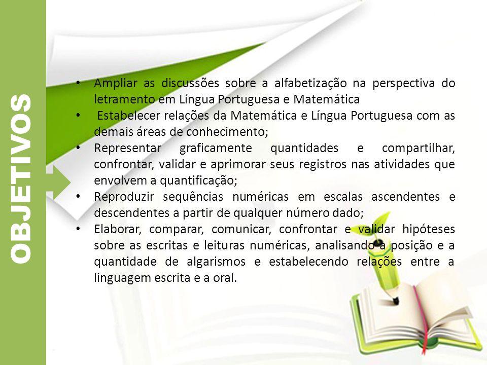 OBJETIVOS Ampliar as discussões sobre a alfabetização na perspectiva do letramento em Língua Portuguesa e Matemática.