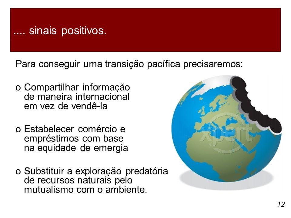 .... sinais positivos. Para conseguir uma transição pacífica precisaremos: o Compartilhar informação de maneira internacional em vez de vendê-la.