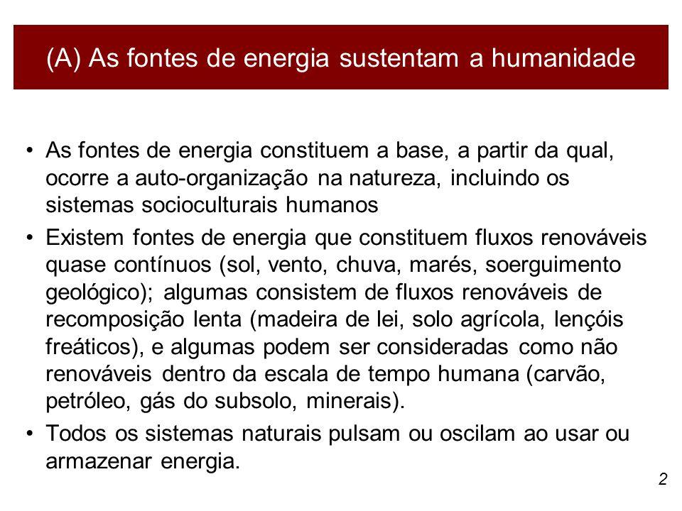 (A) As fontes de energia sustentam a humanidade