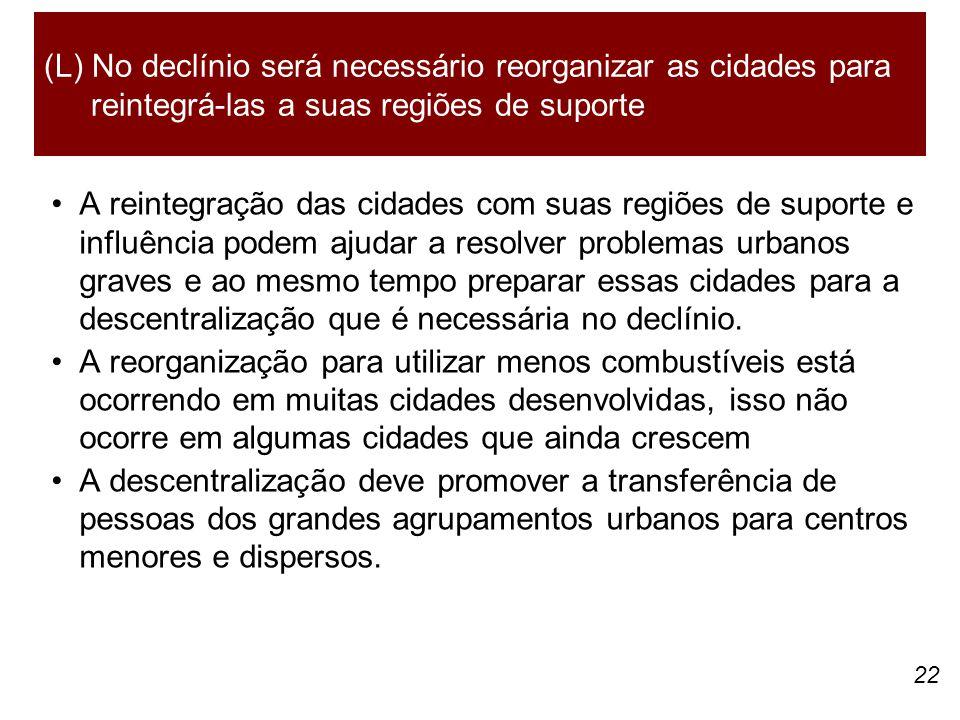 (L) No declínio será necessário reorganizar as cidades para reintegrá-las a suas regiões de suporte