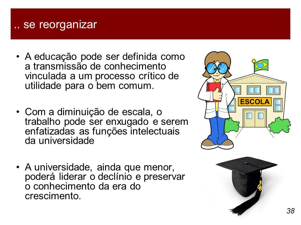 .. se reorganizar • A educação pode ser definida como a transmissão de conhecimento vinculada a um processo crítico de utilidade para o bem comum.