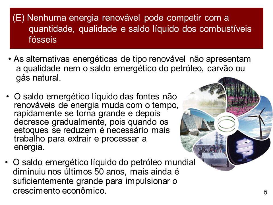 (E) Nenhuma energia renovável pode competir com a quantidade, qualidade e saldo líquido dos combustíveis fósseis