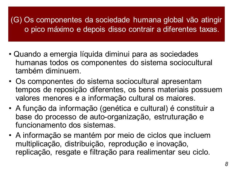 (G) Os componentes da sociedade humana global vão atingir o pico máximo e depois disso contrair a diferentes taxas.