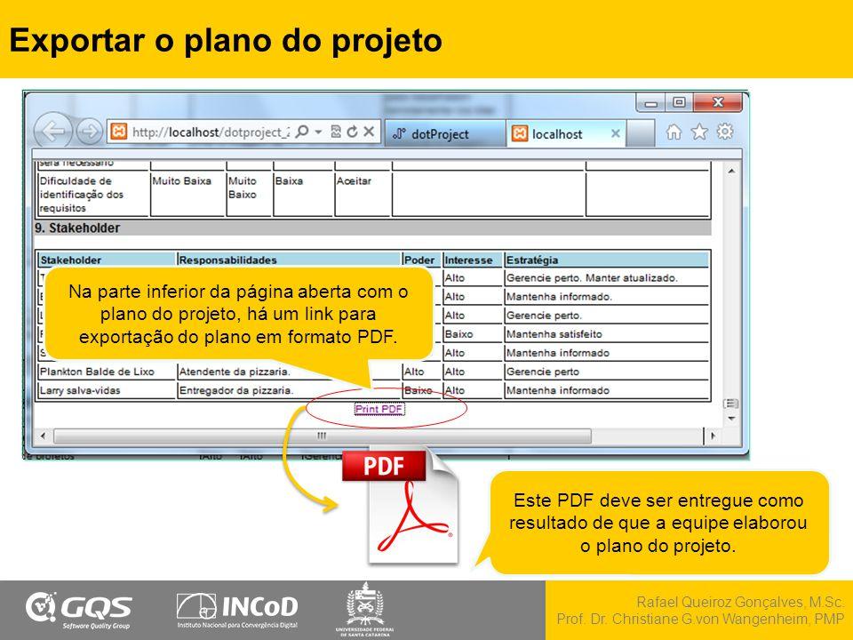 Exportar o plano do projeto