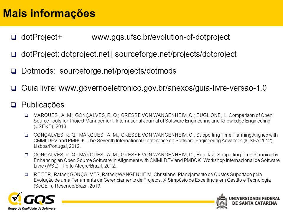 Mais informações dotProject+ www.gqs.ufsc.br/evolution-of-dotproject